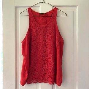 tl The Letter (Anthropologie) Coral Lace Tank, LG